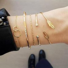 Platform Hot Sale Gold Metal Leaf Bracelet Classic Ring 5 Piece Set Female Bohemian Women Fashion Gold Color Chain Bracelets Set(China)