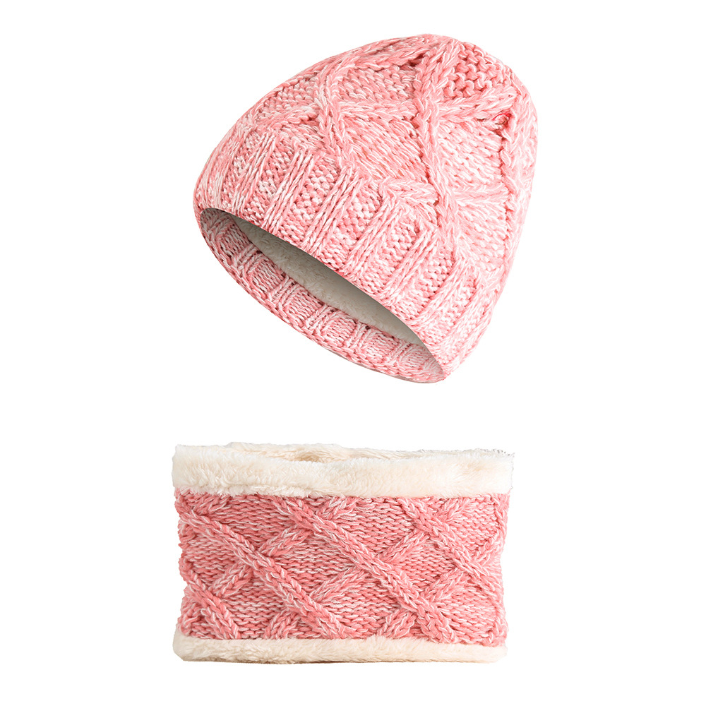 European Children's Thickening And Velvet Mixed Color Hat Bib Two-piece Winter Warm Knitted Wool Acrylic Multi-piece