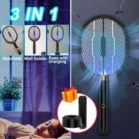 3 IN 1 LED Moskito Mörder Lampe 3000V Elektrische Bug Zapper Insekten Mörder USB Aufladbare Fliegen Klatsche Falle Anti moskito Fliegen