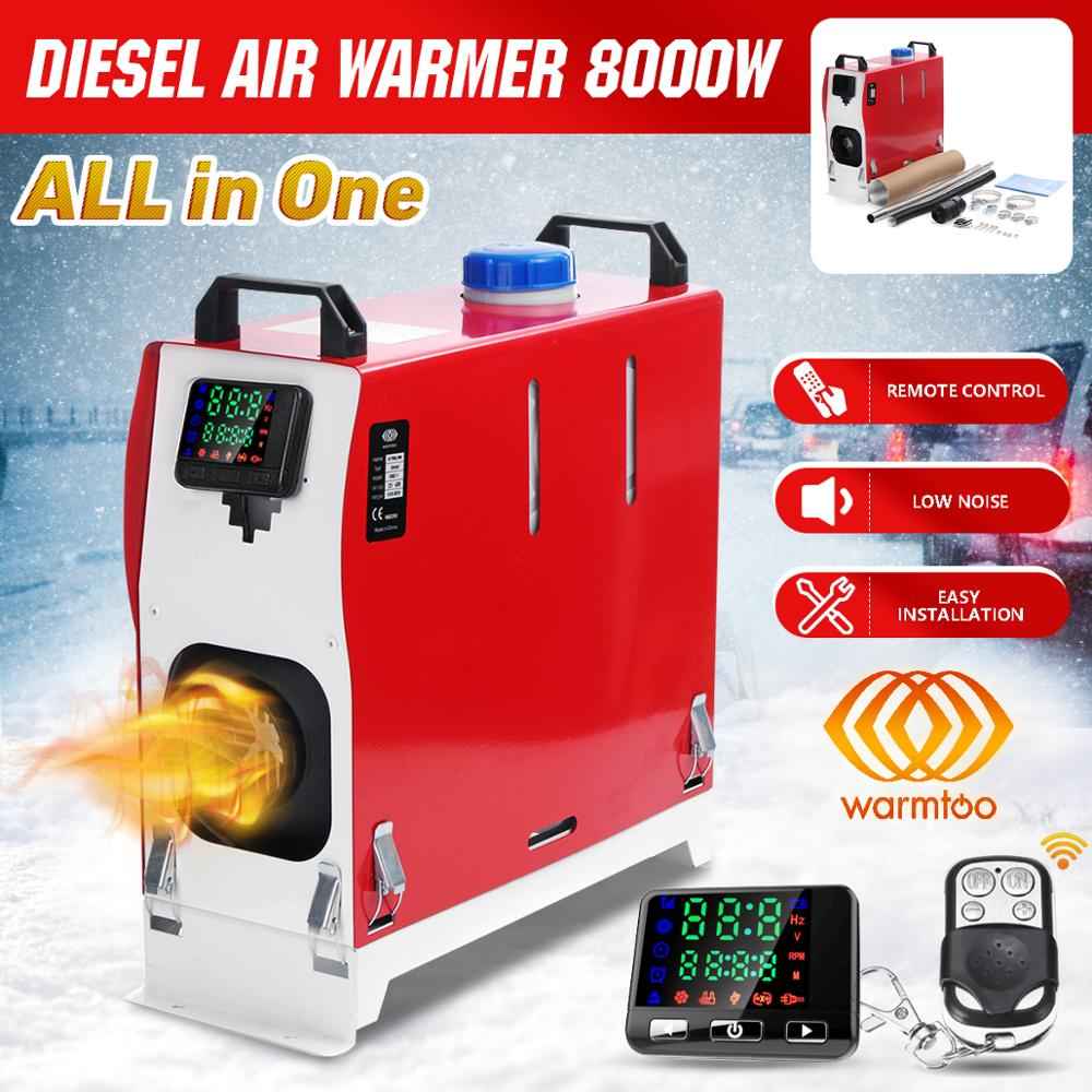 8KW 12V tout-en-un Air Diesel chauffage monotrou voiture chauffage climatiseur Machine + télécommande LCD affichage pour camion bateau