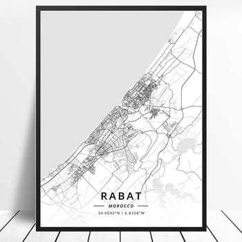 City Rabat Morocco Map Latitude and Longitude Black and White Decorative Painting Modern Living Room Canvas Poster image