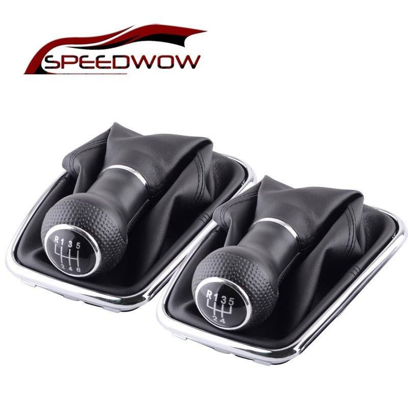 SPEEDWOW 5/6 Speed Gear Shift Knob Lever Shifter Gaitor Boot PU Leather For Volkswagen VW 2003-2008 Golf 4 IV MK4 GTI R32 Jetta