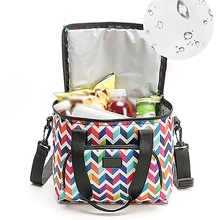 Portable Double Layer Printed Picnic Bag   Cooler Bag Insulated Outdoor Tote Vacation Cooler Box  For Camping jeebel 18l double deck outdoor picnic basket bag storage thermal bag handbags shoulders camping cooler tote thermo