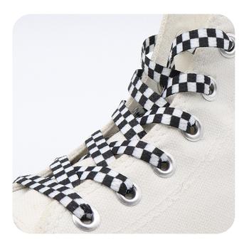 Weiou płaska czarno-biała siatka sznurowadło sublimowane drukowanie poliestrowe wstążki w kratkę sznurowadła Heavy Duty Sneaker sznurowanie tanie i dobre opinie Weiou laces CN (pochodzenie) Poliester Flat Printed Eco-friendly Shoelaces #709 #711-#713 Printed Plaid Checkered Shoelaces
