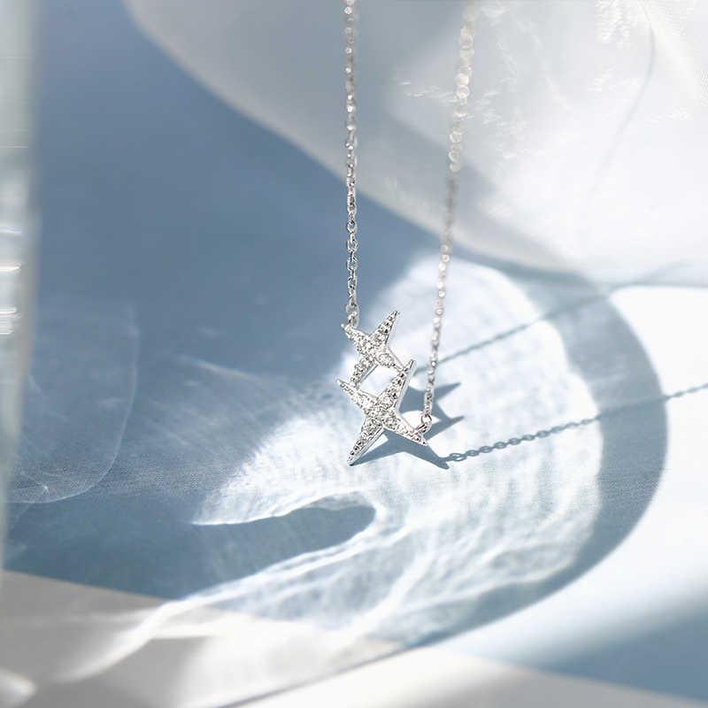 925 スターリングシルバー光沢のある五芒星ネックレスczジルコンペンダントクリエイティブファッションネックレスパーティーウェディングジュエリー