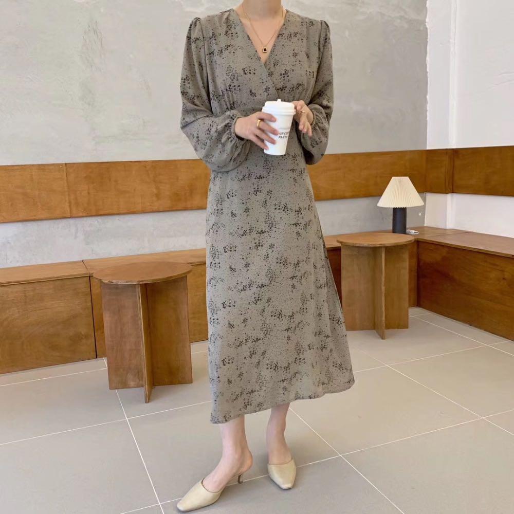 2020 Summer Chiffon Dress Women Midi Dress Korean Long Sleeve Floral Printing V-neck Vestidos