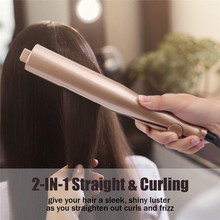 2 in 1 Gold Twist Flat Iron Hair Curling Irons Styling Fast Straightening irons