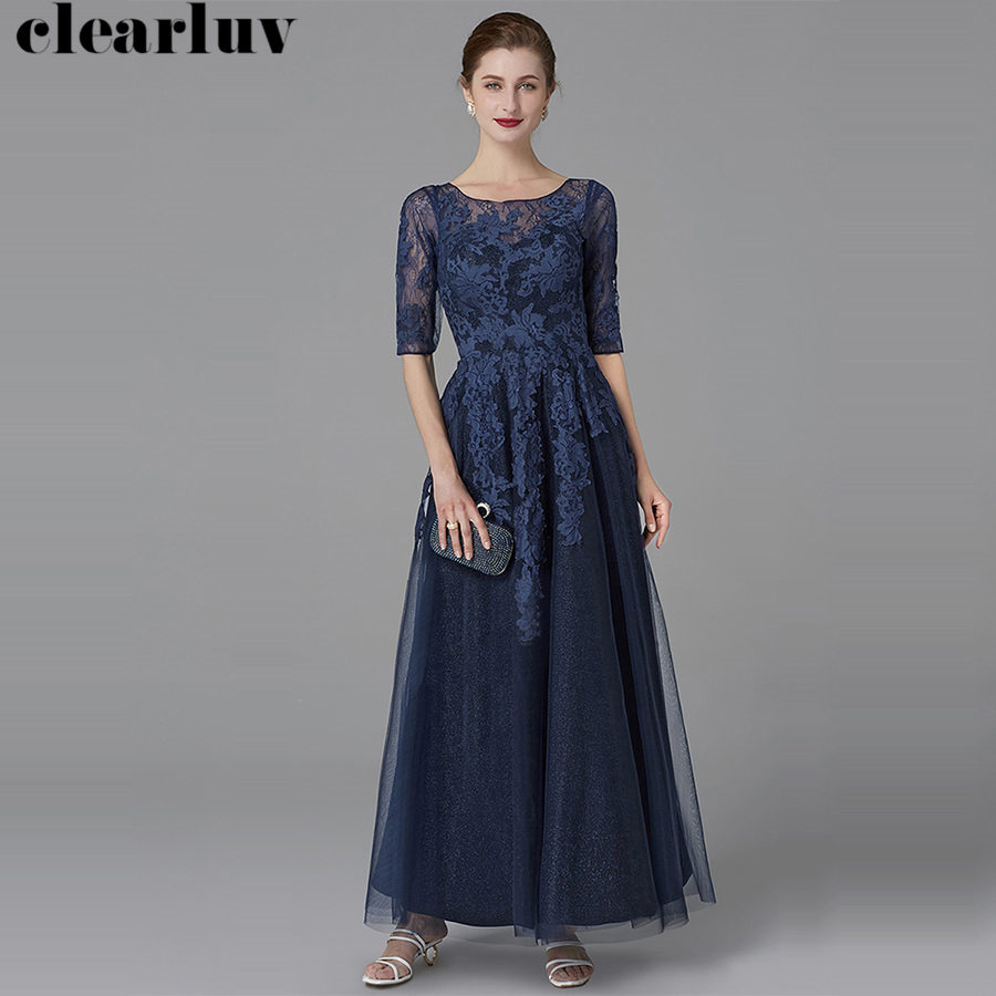 Backless Evening Dress Half Sleeve Robe De Soiree T450 2019 Plus Size Navy Blue Women Party Dresses O-neck Elegant Formal Gowns