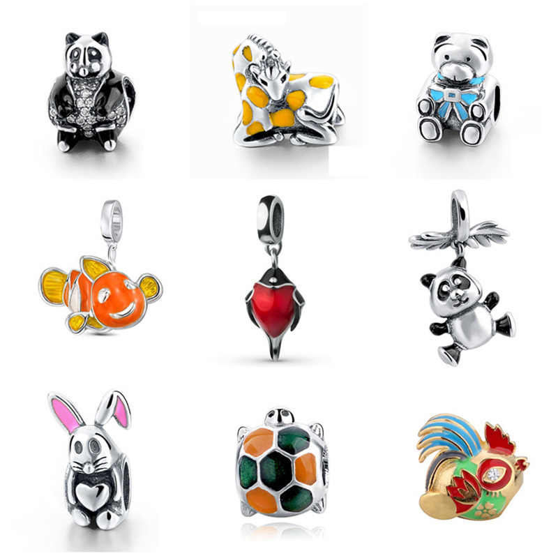 100% Authentic 925 Sterling Silver cute animal Charms Beads Fits Pandora Bracelets bangle for Fashion Fine Jewelry Making gift