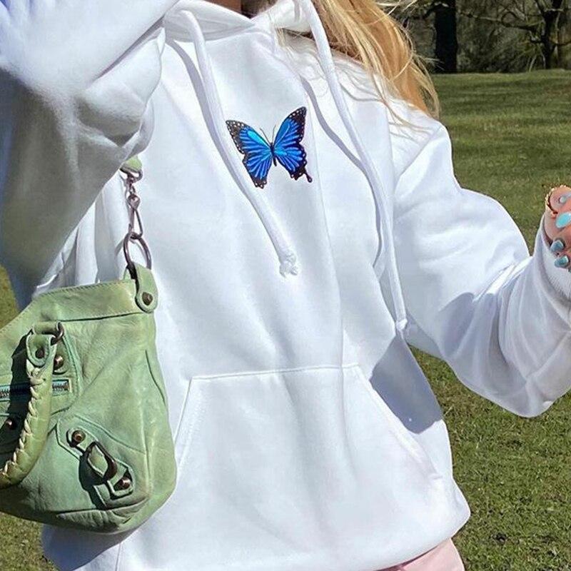 С капюшоном эстетическое 3D бабочка цветочного принта для девочек Готический Стиль Толстовка Женская Толстовка Harajuku женские весенние …