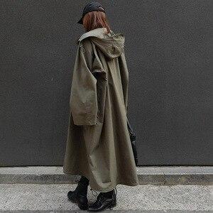 Image 3 - LANMREM Army Green Hooded Long Sleeve Pocket Single Breasted Loose Windbreaker Woman Casual Fashion 2020 Spring Coat New TV863