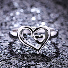 Korean Version of The New Design Peach Heart Ring Creative Double Love Heart Ring Ladies Engagement Ring Gift(China)