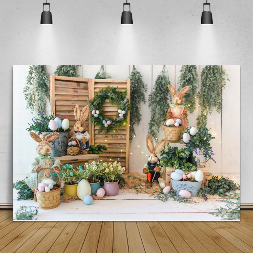 Easter Backdrops For Photography Spring Flowers Rabbit Eggs Bucket Gray Floor Baby Party Photozone Photo Background Photo Studio
