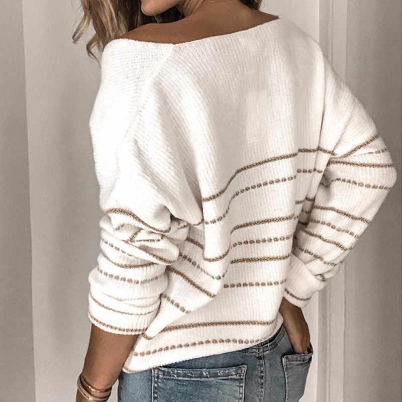 겨울 여성 스웨터 스트라이프 v 넥 니트 스웨터 플러스 사이즈 긴 소매 튜닉 크리스마스 캐시미어 점퍼 하라주쿠 풀오버 탑
