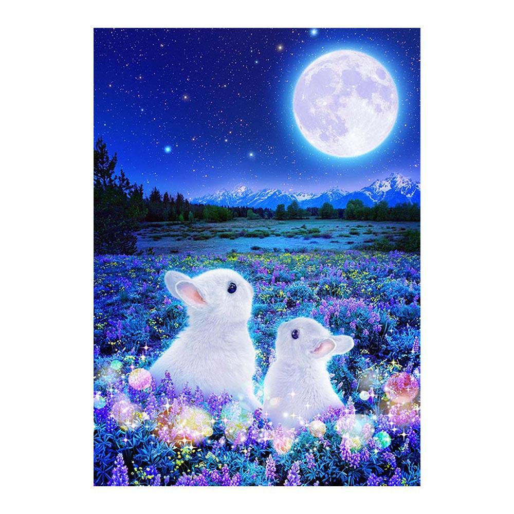 5d Diy полная круглая роспись из бриллиантов Вышивка крестом милый кролик вышивка стразами рисунков животных Алмазная мозаика Луна Пейзаж рукоделие Алмазная роспись, вышивка крестом      АлиЭкспресс