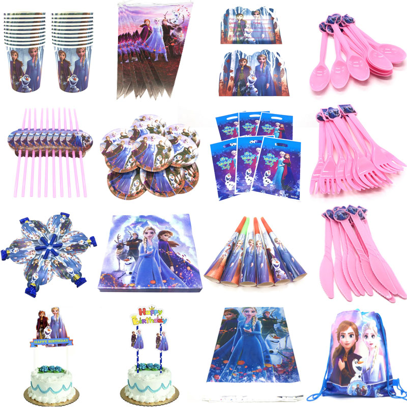 Princess Elsa Anna Frozen 2 Party Supplies Paper Cup Plates Straws Caps For Kids Girls Frozen 2 Birthday Party Decorations Sets