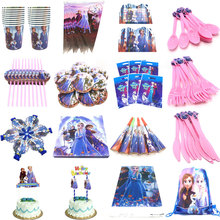 Plates Straws-Caps Party-Supplies Birthday-Party-Decorations-Sets Anna Frozen Elsa Princess