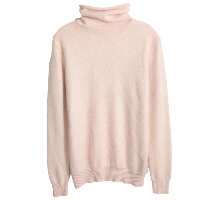 Novo puro vison cashmere gola alta camisa pilhas de outono e inverno camisola feminina de manga comprida camisola quente hedging