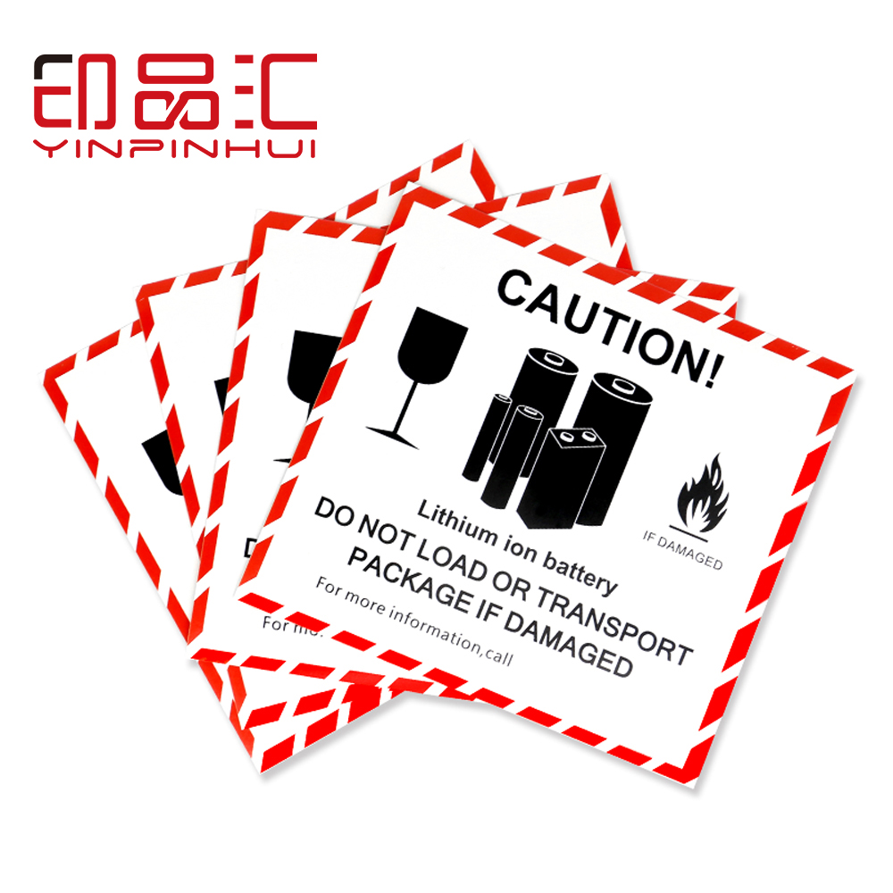 Adhesive Lithium Battery Shipping Labels UN3481 Warining Case Stickers