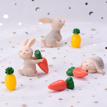 Lovely Rabbit Miniature Figurine Micro Landscape Ornament Mini Animal Fairy Garden Decoration Kids Room New Year home decor 1PC