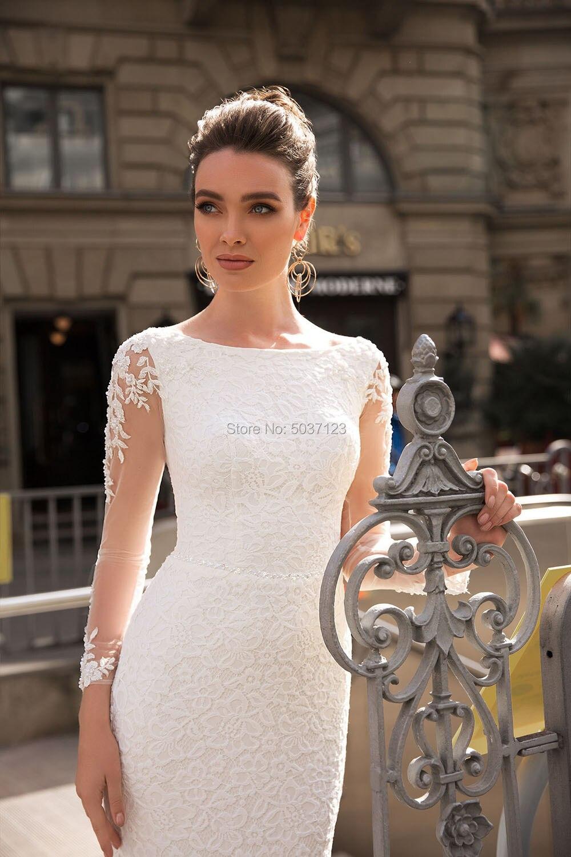 Lace Mermaid Wedding Dresses Detachable Train Long Sleeves Scoop Lace Appliques Bridal Gown Vestidos de Noivas Plus Size