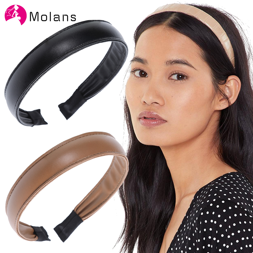 MOLANS Simple Women's Faux Leather Headband Solid Elegant Wide PU Leather Hairbands 2.5cm Wide Hair Band Accessories Headbands