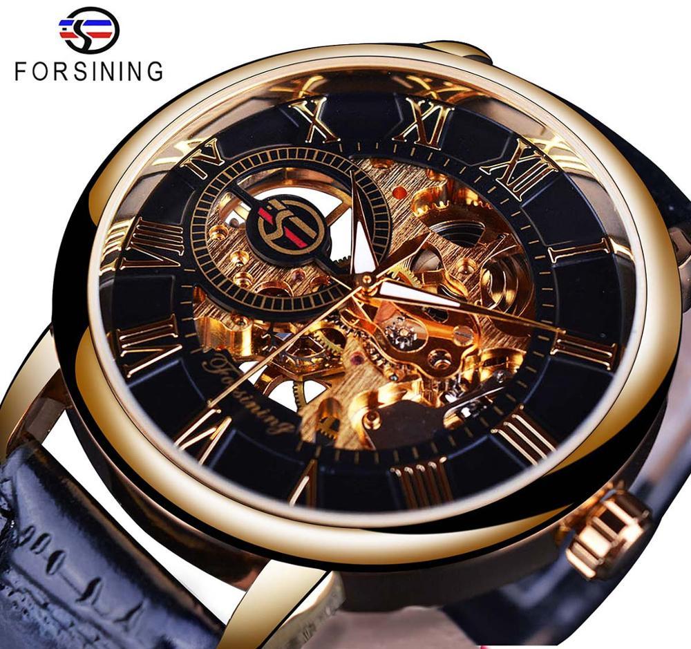 Forsining 3d логотип дизайн полые гравировка черный золотой чехол кожаный Скелет механические часы для мужчин люксовый бренд Heren Horloge