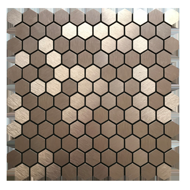 Hexagon Brown Brushed Brass Metal Aluminum Composite Panel Ceramic Tile Background Wall With Gum Self-Adhesive