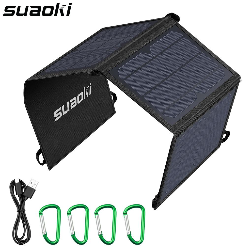 Suaoki portátil 21w dobrável carregador de painel solar dupla portas usb 4a saídas max power bank para iphone xiaomi smartphones tablets