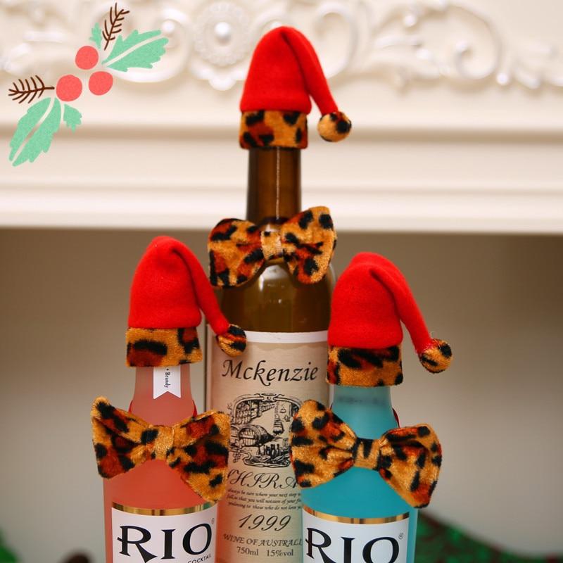 Christmas wine bottle decoration supplies santa elf christmas cap новогодний колпак рождественская шапкаmoletom suéter карман in Christmas Hats from Home Garden