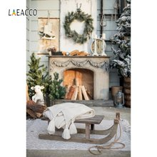 Laeacco камин с венком сани Деревянная Рождественская елка светильник