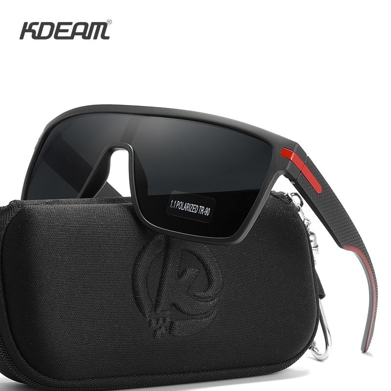 KDEAM Luxury One Piece Polarized Sunglasses For Men Women Plastic Titanium Frame With 1.1 mm Thickness Polarizing Sun Glasses