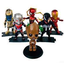 6pcs Avengers 4 Marvel Spider Man Batman Thanos Iron Venom Tree Action Figure Kids Toys B669