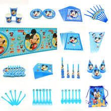 Disney Mickey Maus Glücklich Geburtstag Party Dekorationen Kind Platte Tasse Stroh Serviette Einweg Geschirr Baby Dusche Event Party Set(China)