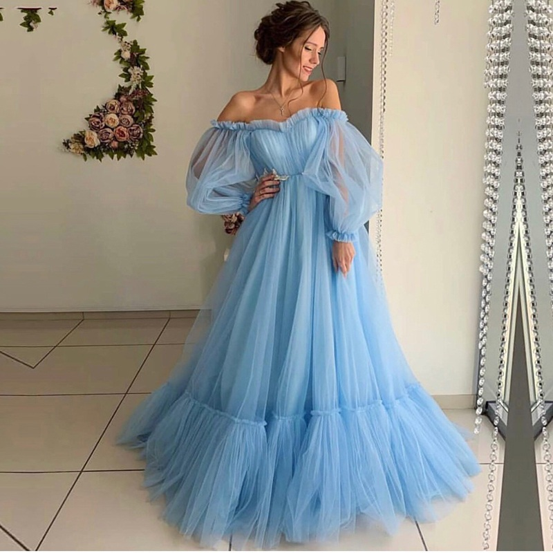 New Long Prom Dresses Off The Shoulder Robe De Soiree Sky Blue Tulle Full Sleeve Evening Dress Party 2020 Abendkleider