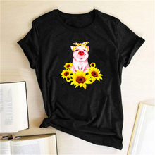 Drôle Cochon Tournesol Imprimé Femmes T-Shirt D'été Haut Pour Femme T-shirts Vêtements Harajuku Graphique Mujer Camisetas