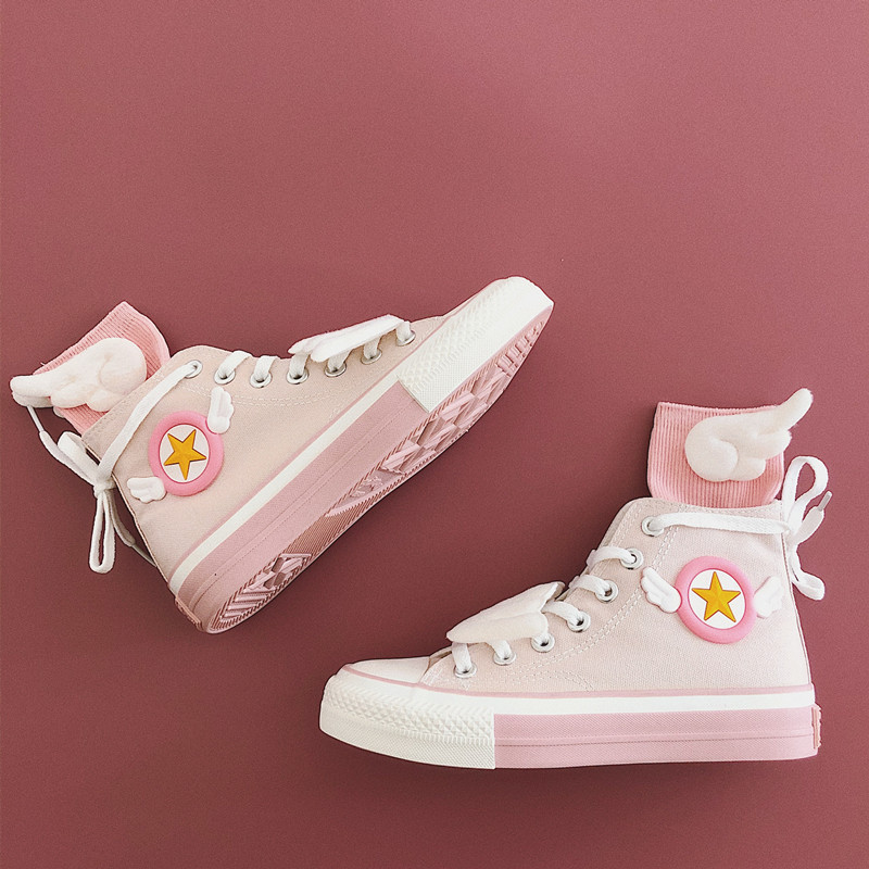 Casual Canvas Lolita High-Top Casual Shoes Anime Card Captor SAKURA Loli Sweet Pink Japanese Sweet Lolita Shoes Kawaii Girl Tea