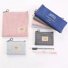 0619 корейские канцелярские товары, простая сумка-карандаш для мужчин и женщин, Студенческая Большая вместительная Холщовая Сумка-карандаш, кошелек для хранения косметики