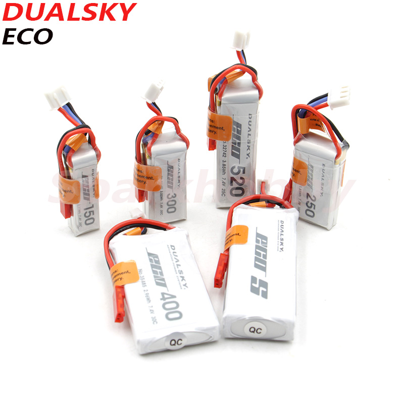 2PCS DUALSKY ECO Fixed-wing Aircraft Lipo Battery 2S 7.4V 120/250/300/400/520/800mAh 25C/30C For RC F3P 3D Aircraft