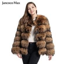 Chaqueta de piel de estilo moderno para mujer, abrigo de piel de mapache Real para invierno, abrigo cálido de lujo para mujer S7375
