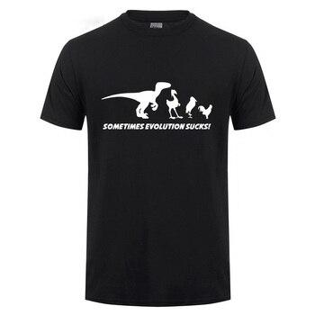 A veces la evolución camiseta Sucks divertido Darwin Retro dinosaurio aves cómic manga corta cuello redondo Camiseta de algodón de verano
