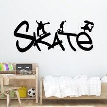 Frete grátis skate dos desenhos animados decalques de parede pvc mural arte diy cartaz para sala estar quarto arte decoração papel