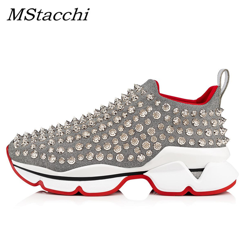 MStacchi 2020 Sping Women Sneakers Shoes Woman Color Mixing Rivet Slip-On Shoes Chic Ladies Cozy Breathable Flats Casual Shoes