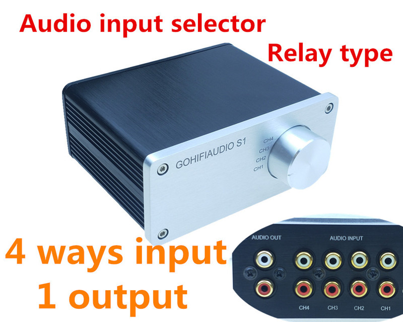 Signal Splitter 4 IN 1 OUT Audio Rca Connector Signal Selector Relay Source Selector HIFI Input Rca Cable Switcher Schalter BoX
