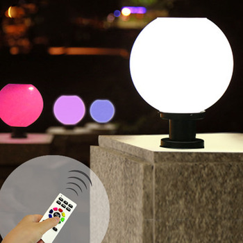 LED New Solar Wall Lamp Outdoor Post Headlight in Garden, With Infrared remote control