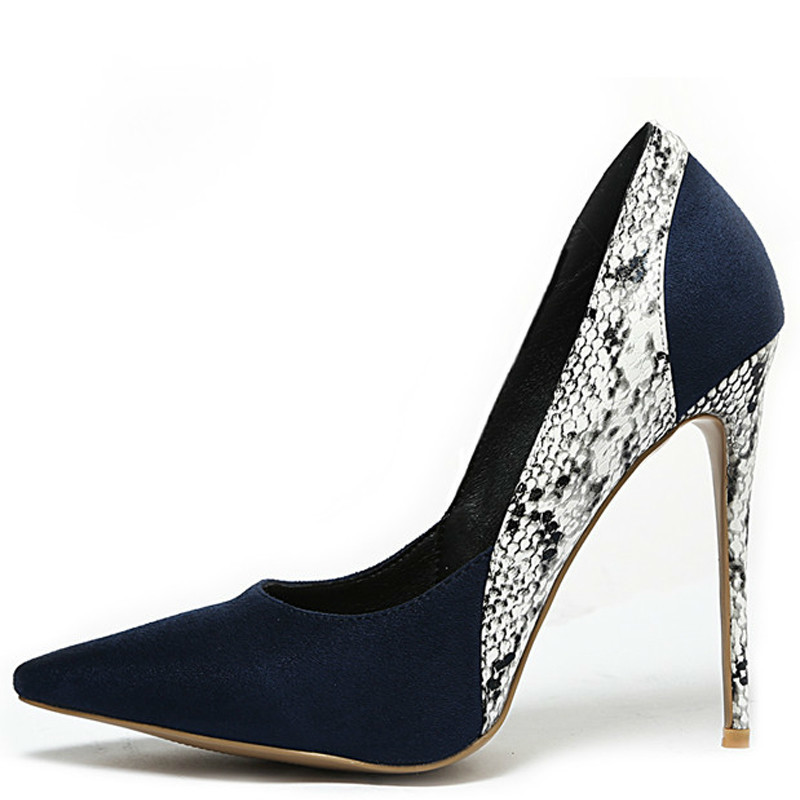 YECHNE Woman High Heels Shoes Snakeskin Heel Shoes Women's Black Blue Plus Size Pointed Toe Pumps Party Stiletto Graffiti