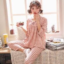 Lisacmvpnel Cotton Nữ Bộ Đồ Ngủ Lưới 7 Phần Chiều Dài Tay Áo Quần V Dẫn Pyjamas