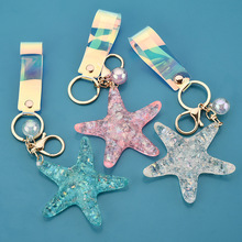 Hot Sell Sea World Simulation Starfish Pearl Keychain Jewelry Crystal KeyRing Pendant Purse Keychain Women Charm Gift