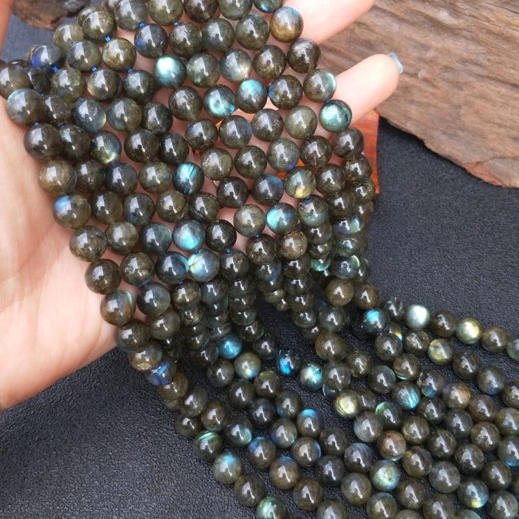 AAA Loose Beads BLACK RAINBOW Labradorite  ROUND 8/10MM  Nature For Making Jewelry Necklace 14inch FPPJ Wholesale