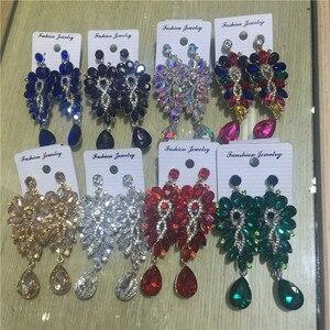 Fashion Luxury Crystal Dangle Earrings for Women Wedding Girl Elegant Rhinestone Statement Pendants Earring Bride Jewelry Bijoux